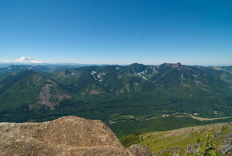 Not a good picture, but the only one I have with both Rainier and McClellan Butte.