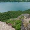 Looking out over the ledge, you can see lots of other ledges, but it's still pretty steep (and 1100 feet above the lake).