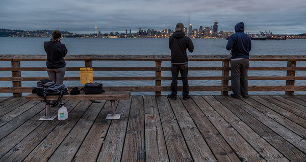 Becky's cousin Tiffany on the left took us to this spot Alki Beach to photograph the Seattle  skyline.