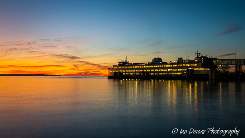 MV Spokake at Edmonds during sunset