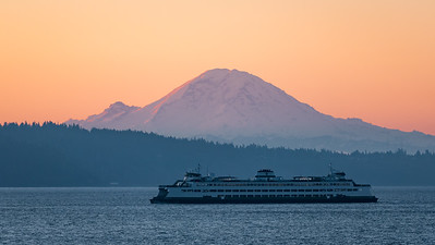M/V Spokane with Mount Rainier as a backdrop