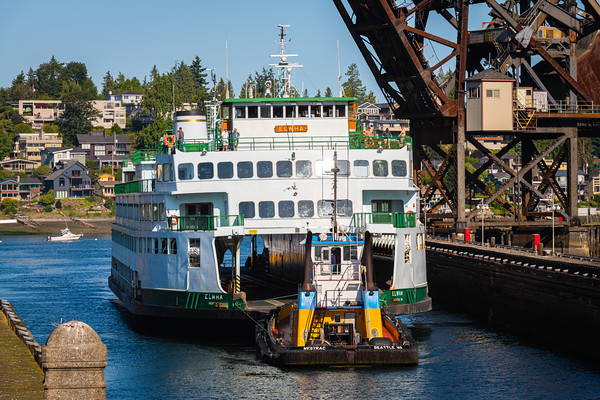WSF Elwha and towboat Westrac entering the Ballard Locks