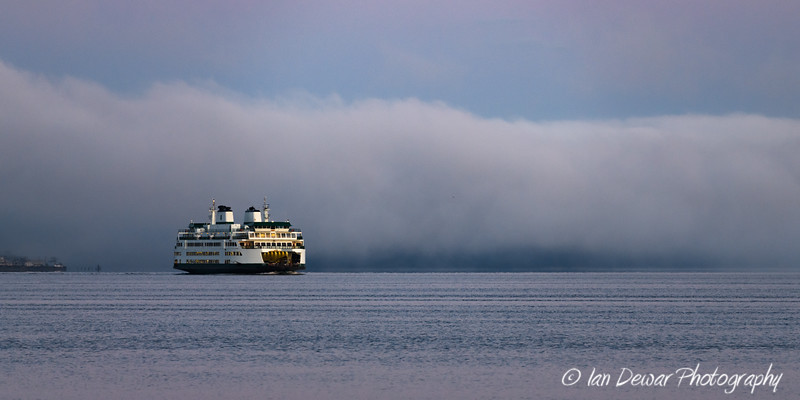 MV Tokitae crossing Puget Sound at dawn
