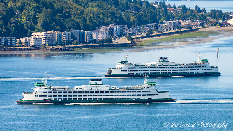 Washington State Ferries Tacoma and Wenatchee cross in Elliott Bay