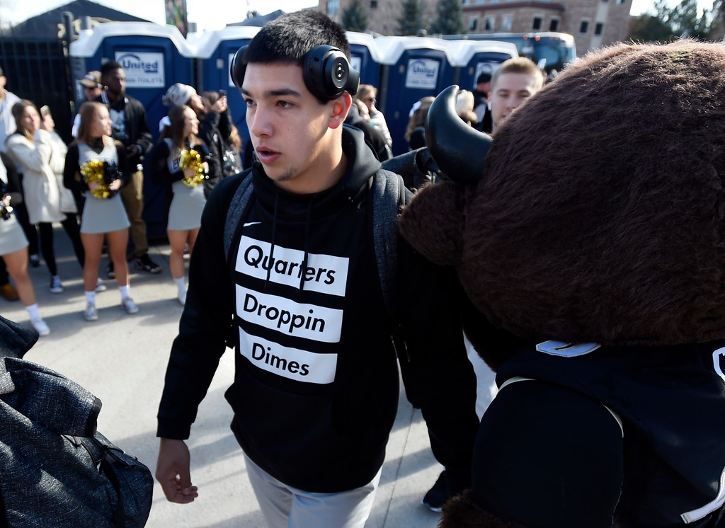 . BOULDER, CO: November 10:  Steven Montez arrives with the team  before the game with Washington State. (Photo by Cliff Grassmick/Staff Photographer)