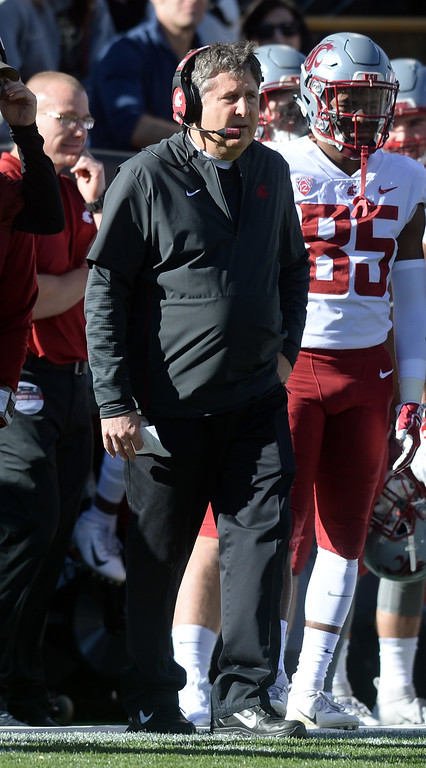 . BOULDER, CO: November 10: Mike Leach, WSU head coach, during the game with Washington State. (Photo by Cliff Grassmick/Staff Photographer)