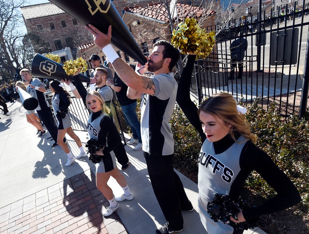 . BOULDER, CO: November 10: The CU Spirit Squad cheer the Buffs on the Buff Walk  before the game with Washington State. (Photo by Cliff Grassmick/Staff Photographer)