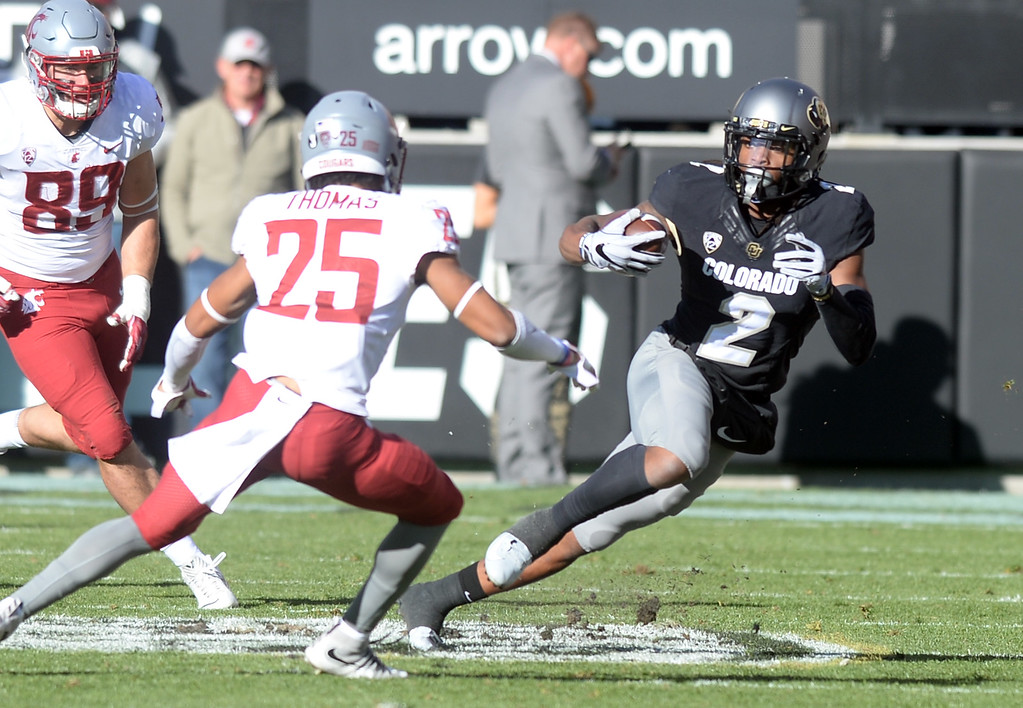 . BOULDER, CO: November 10: Laviska Shenault, of CU, gets around Skyler Thomas, of WSU,  during the game with Washington State. (Photo by Cliff Grassmick/Staff Photographer)