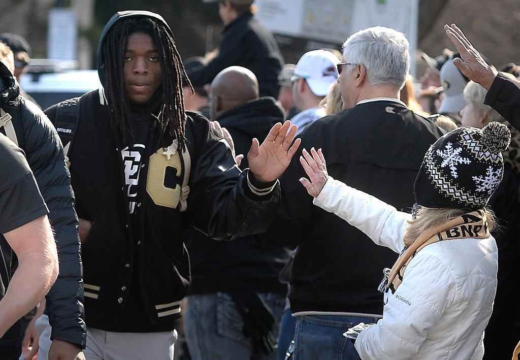 . BOULDER, CO: November 10: Laviska Shenault arrives with the Buffs  before the game with Washington State. (Photo by Cliff Grassmick/Staff Photographer)