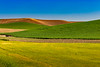 Rolling hills and grain field patterns of the Palouse, Washington, USA,