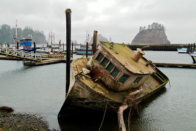 Sunken: the most photographed and painted boat at La Push, Washington