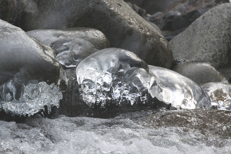 Ice capped boulders