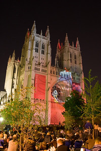 Lighting to Unite, the lighting exhibit by Gerry Hofstetter (Switzerland) on the exterior of the Washington National Cathedral (for centenary of cathedral).