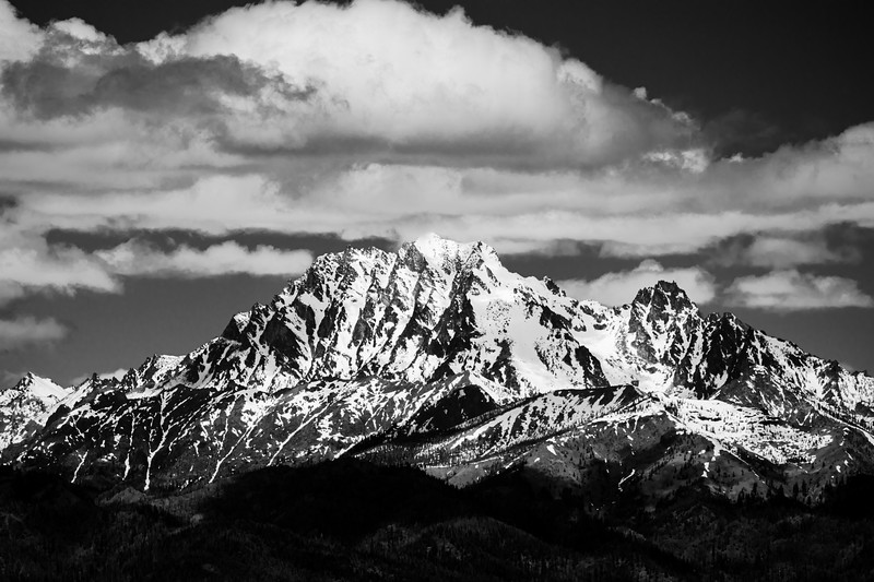 Kittitas, Peoh Point - Mt. Stuart under clouds, black and white