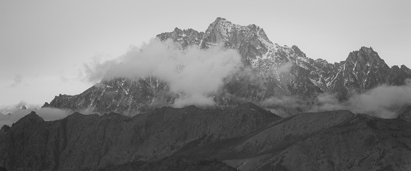 Kittitas, Peoh Point - Mt. Stuart with some clouds in black and white