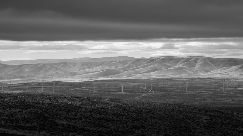 Kittitas, Wild Horse - Valley of windmills with breaks behind, black and white