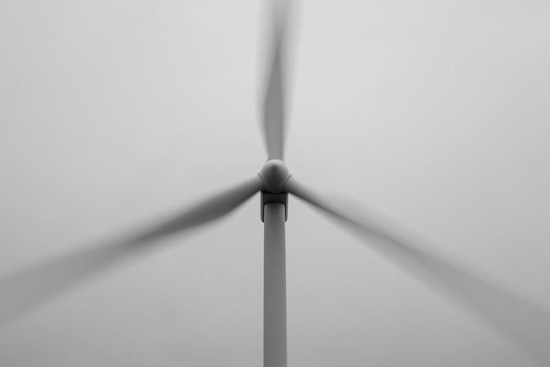 Kittitas, Wild Horse - Windmill in long exposure head on, black and white