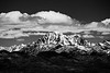Kittitas, Peoh Point - Mt. Stuart under clouds, black and white, wider view