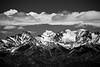 Kittitas, Peoh Point - Enchantments Peaks under clouds, black and white