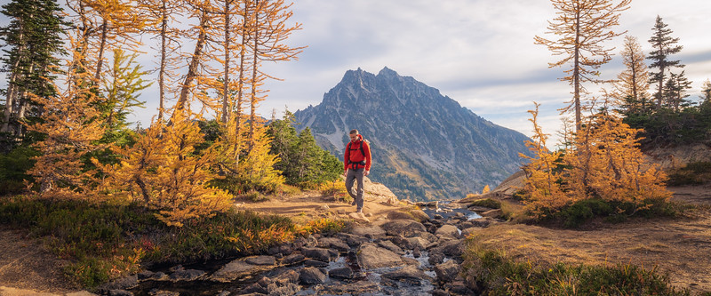 Stuart, Ingalls - Hiker leaving a stream crossing with larch and Mt. Stuart