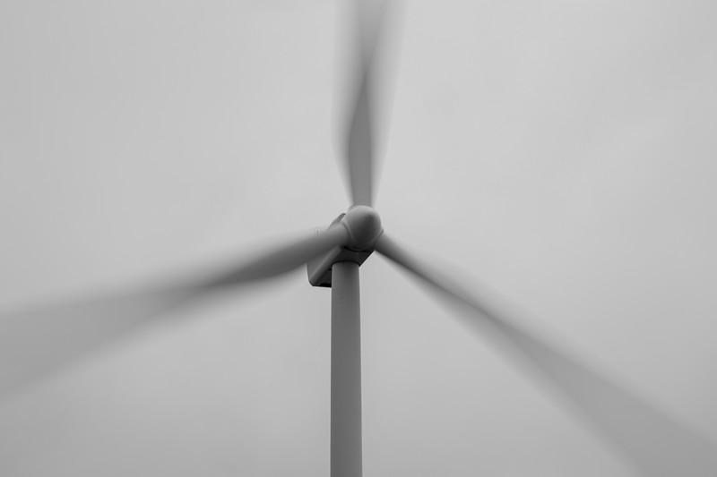 Kittitas, Wild Horse - Power generation windmill in long exposure, black and white