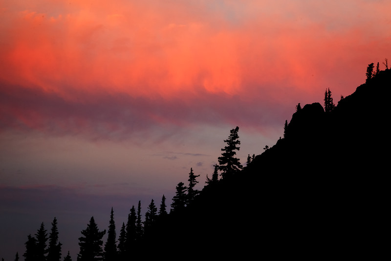 Kittitas, Bean Creek - Silhouetted ridgeline with colorful sunrise