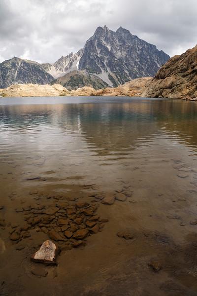 Stuart, Ingalls - Mount Stuart and a tiny rock in Lake Ingalls
