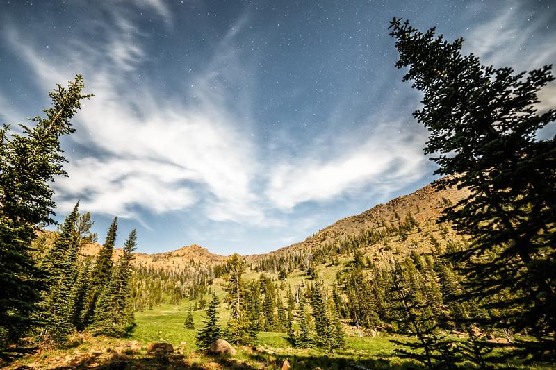 Kittitas, Bean Creek - Starry moonlit meadow beneath Bean Peak