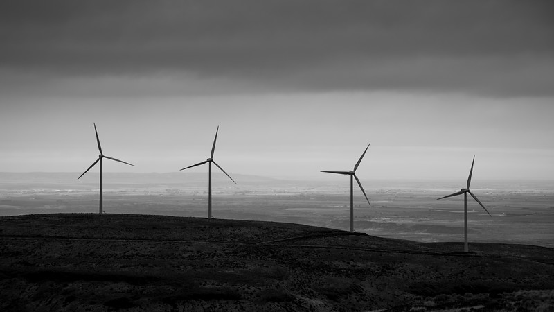 Kittitas, Wild Horse - Four windmills overlooking the Columbia Basin, black and white