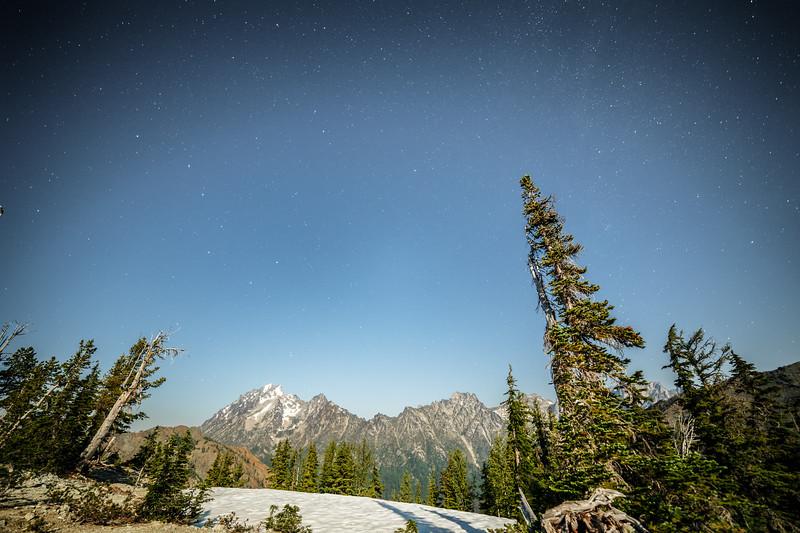 Kittitas, Bean Creek - Mt. Stuart and trees on a starry moonlit night