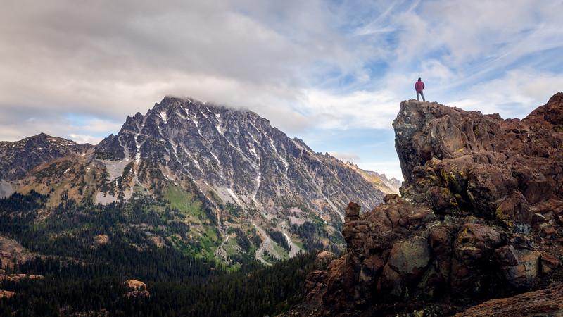 Stuart, Ingalls - Man on rock overlooking Mt. Stuart