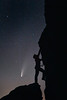 Columbia, Vantage - Rock climber ascending basalt column at night with comet