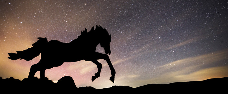 Vantage, Horse Monument - Single horse statue jumping with light aurora and clouds