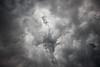 Columbia, Mattawa - Bird pattern in clouds overhead beneath thunderstorm