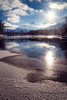 Leavenworth, Town - Partially frozen river with sun star
