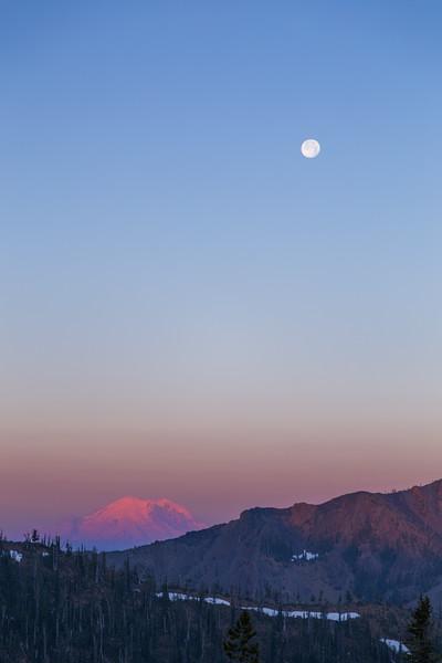 Kittitas, Bean Creek - Super Moon setting above Mt. Rainier in the distance at sunrise
