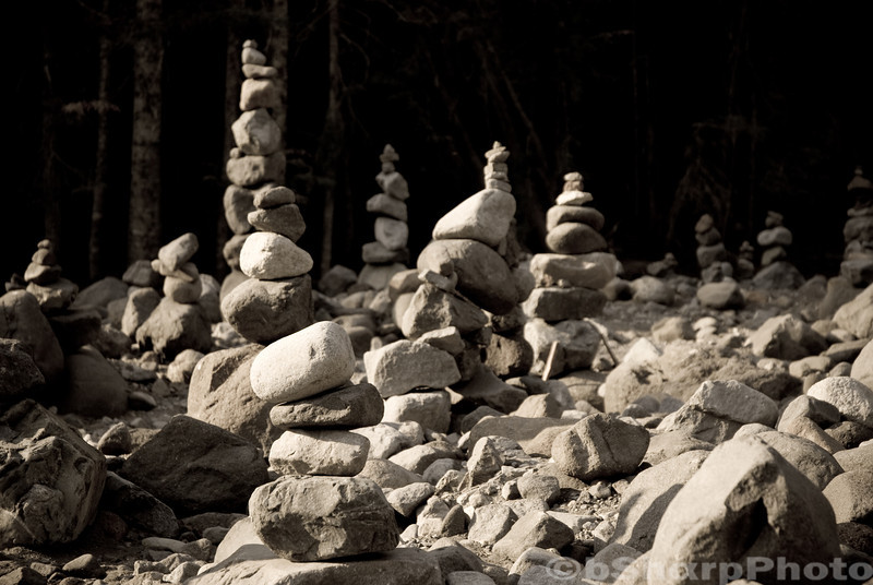 Stack of rocks on the shores of the White River