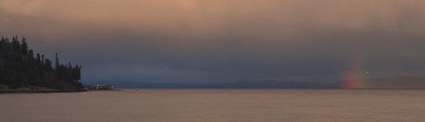 Puget Sound, Kingston on left, Whidbey Island with rainbow on right