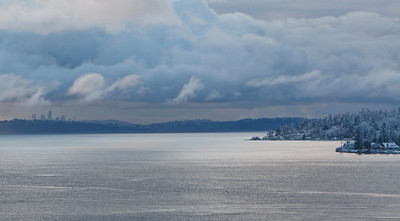 Kingston scenery following winter snow storm.  Puget Sound with Seattle skyline on left.