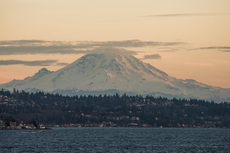 Mt Rainier from the Seattle to Bainbridge Ferry