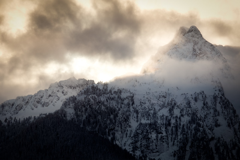Darrington, Park - Whitehorse Mountain with clouds at sunset in winter