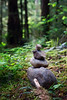 Verlot, Lake 22 - Rock cairn along the trail in the forest