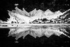 Verlot, Lake 22 - Snow fields reflected in the lake, black and white