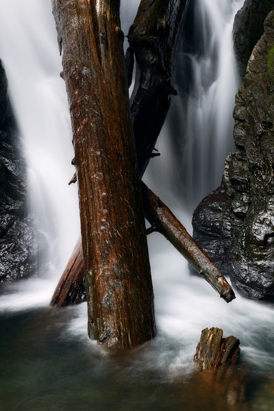Verlot, Lake 22 - Waterfall with crossed logs at the base