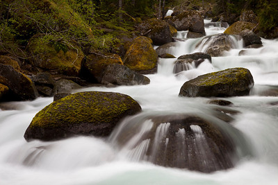 Nickel Creek.  I have photographed this creek in the past and last time I was sitting in the middle of it on these foreground rocks.  As you can see, that wasn't even an option at this time!!