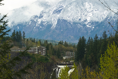Salish Lodge and Snoqualmie Falls.  With the upper reaches of the Snoqualmie River frozen, the flow drops off.