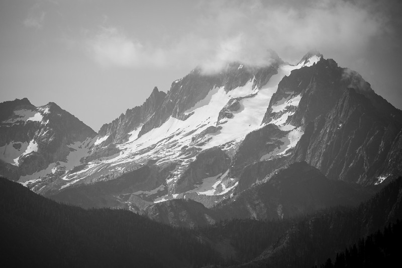 Methow, Harts Pass - Distant mountain with clouds in black and white