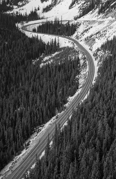 Washington Pass, Overlook - View of road sweep through hairpin in black and white