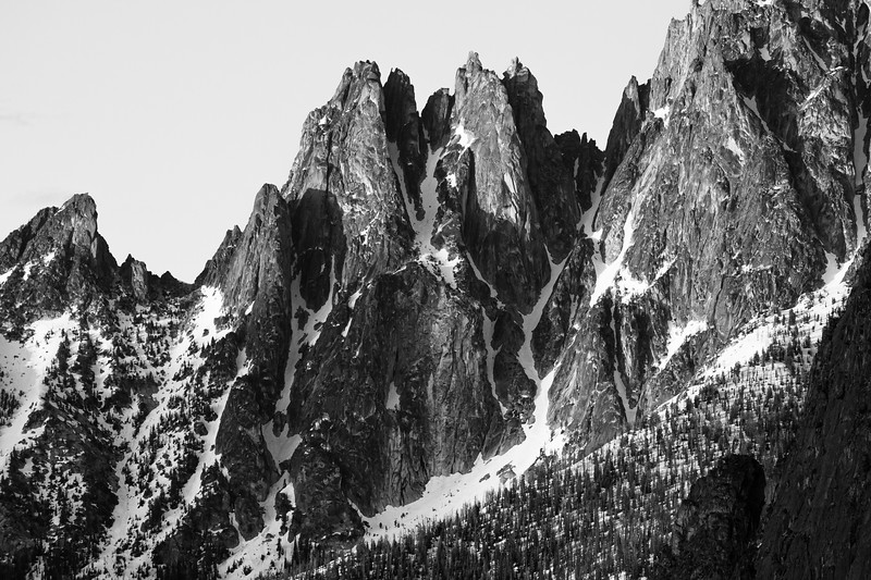 Washington Pass, Overlook - Wine Spires in Black and White