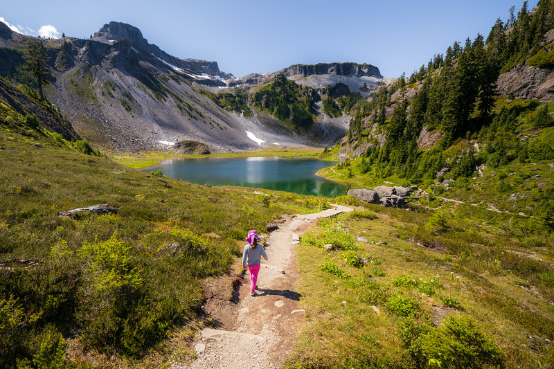 Whatcom, Artist Point - Little girl walking down trail towards Bagley Lakes